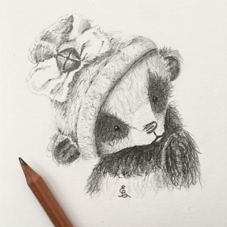 Drawing of an artist teddy bear panda with pencil
