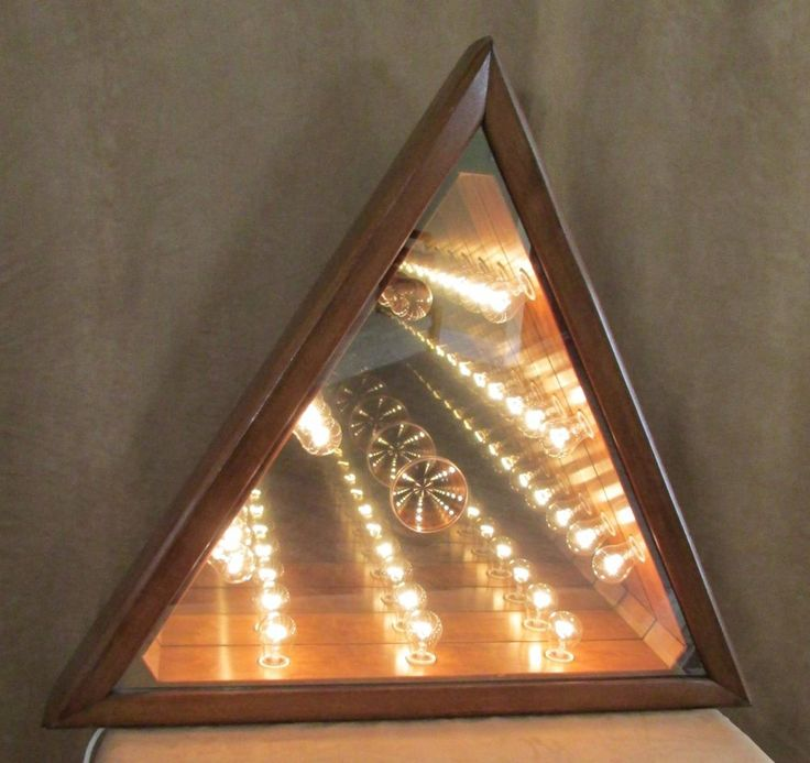 Infinity Lighted Wall Mirror Wood Triangle Mid Century