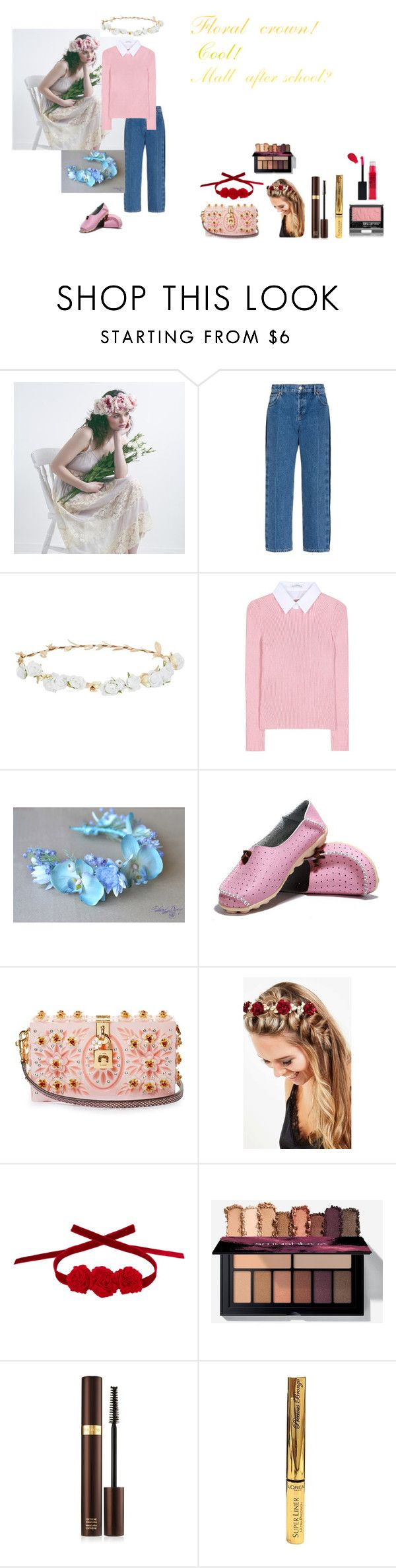 """""""For Scarlett (friend) - Scarlett's ideal wardrobe by me: #313: Floral crown!"""" by sarah-m-smith ❤ liked on Polyvore featuring Balenciaga, Design Lab, Altuzarra, Dolce&Gabbana, Johnny Loves Rosie, Vjera Vilicnik, Tom Ford, L'Oréal Paris and Maybelline"""