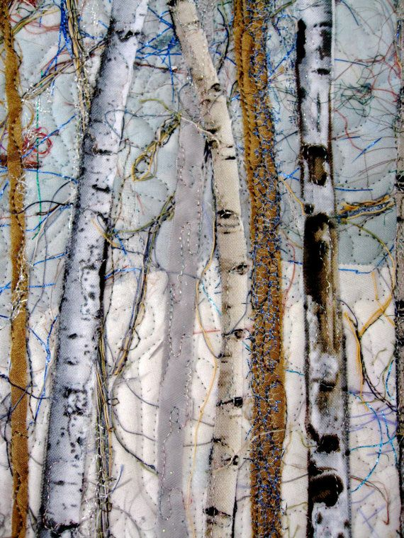 I like the use of blue threads. Fiber Art Quilt Woodland Winter Pine Art Quilt by SallyManke