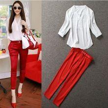 Nova chegada 2016 moda verão conjuntos de roupas casuais das mulheres brancas de blusa com decote em V camisa com vermelho calças Skinny 2 peça define