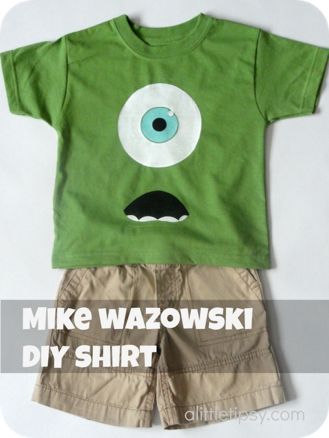 Mike Wazowski Shirt  Who doesn't love Mike Wazowski? Seriously, he's hilarious not to mention simple so he is easy to make in to a shirt. It cost me all of $1. Gotta love those numbers!