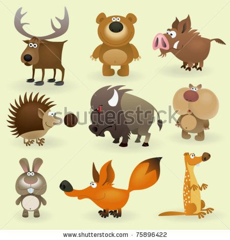 Wild animals set #2 (Forest) - stock vectorWild Animal, Stockings Vector, Art Cutie, Printables Animal, Adorable Clipart, Cartoons Image, Animal Sets, Art Illustration, Clips Art