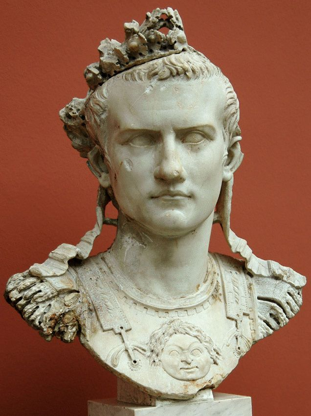 Cuirass bust of Caligula. Marble. 37—41 A.D. Height 51 cm. Inv. No. 1453. Copenhagen, New Carlsberg Glyptotek.