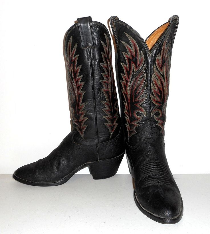 Exotic Elephant Cowboy Boots Mens Size 7 D Black Justin Brand Red Womens 8.5  #Justin #CowboyWestern