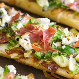 Brussels Sprouts & Prosciutto Pizza W/Caramelized Onions [I'm Bored Let's Go]