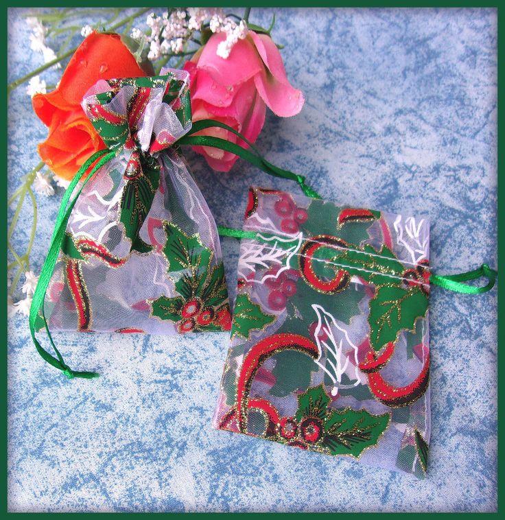 Pochettes Organza blanc feuilles de houx paillettes (2p) : Emballages cadeaux bijoux par orkan28
