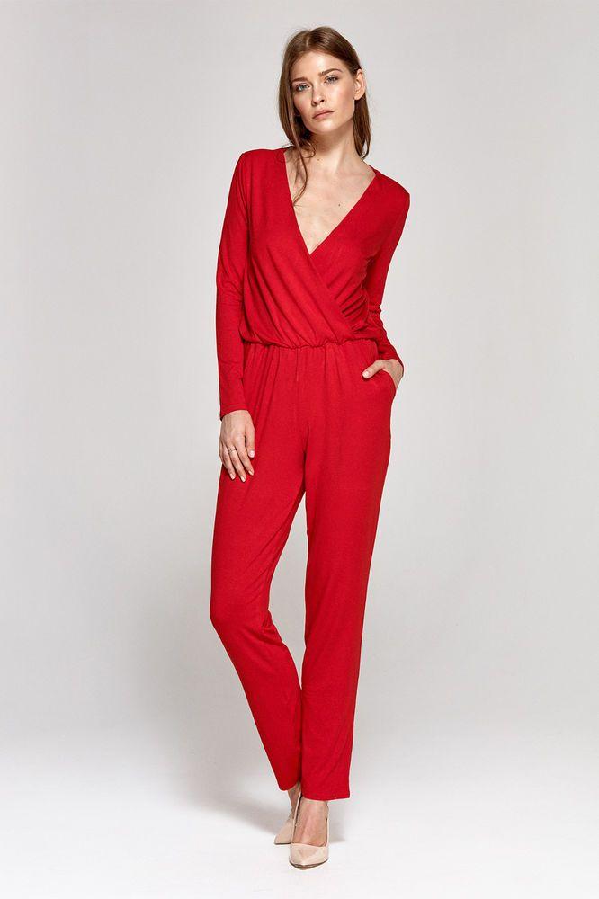 a60dbefca0f8 Combinaison pantalon rouge femme manches longues décolleté V CKM02 COLETT   Combinaisonspantalons