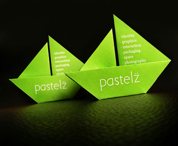 Pastelz - Business Cards: a hand crafted origami boat as a visiting card for our enterprise which crafts brand experiences.. : Origami Boat, Creative Business Cards, Idea, Card Designs, Origami Business, Business Card Design, Graphics Design, Places Cards, Business Cards Design
