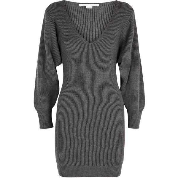 Stella McCartney Charcoal Chunky-knit Wool Dress - Size 10 ($810) ❤ liked on Polyvore featuring dresses, balloon sleeve dresses, slip on dress, wool dress, chunky knit dress and stella mccartney