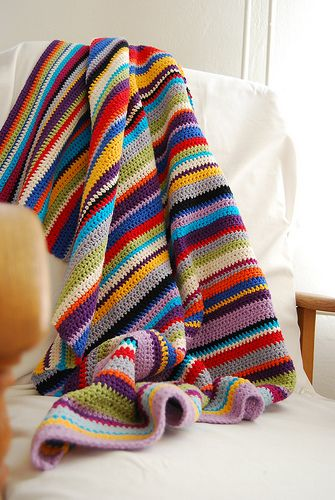 Great to make from all those scraps (small balls) of yarn one may have hanging around. stripes crochet afghan blanket throw laprobe