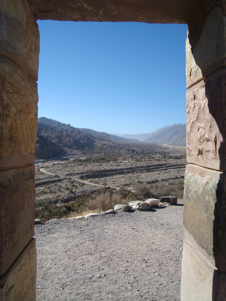 Pucara de Tilcara, Jujuy, Argentina - This is the view from inside one of the restored ruins in Tilcara. It is quite a hike to the top, but the restoration is beautiful and the view is amazing.