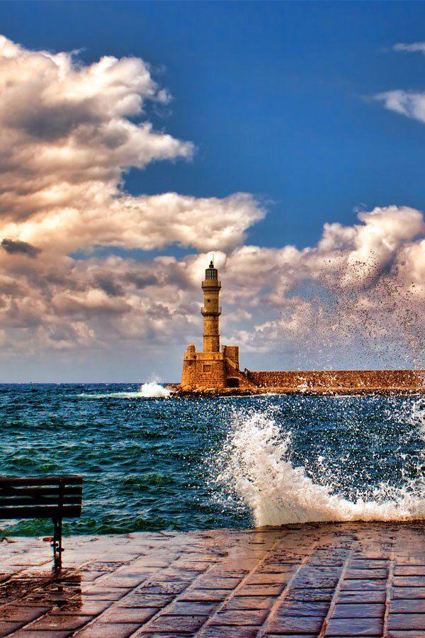Hania Lighthouse, Crete, Greece                        http://www.greece-travel-secrets.com/Crete.html