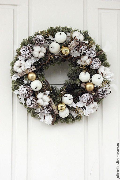 Купить Рождественский венок на дверь - белый, венок на дверь, украшение дома, декор новогодний, подарок