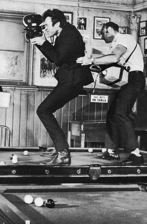 Clint Eastwood gets some hands-on filmmaking experience during the shooting of Coogan's Bluff, 1968.