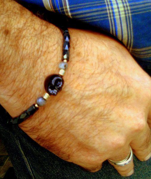 Men+/+unisex+Bracelet,+Yoga+skull+Gems+Bracelet++from+CamelysUnikatBijoux+by+DaWanda.com