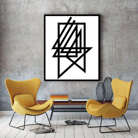 Black & white print, contemporary art, modern minimalist print, nordic design, wall decor, room decor, A0 poster, black and white, art print