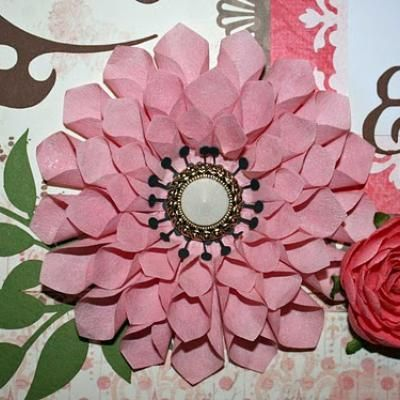 Handmade Dahlia for a craft project, card or mothers day pin. This one is made using painted coffee filters! They turn out beautifully and are relatively quick and inexpensive to make. :)