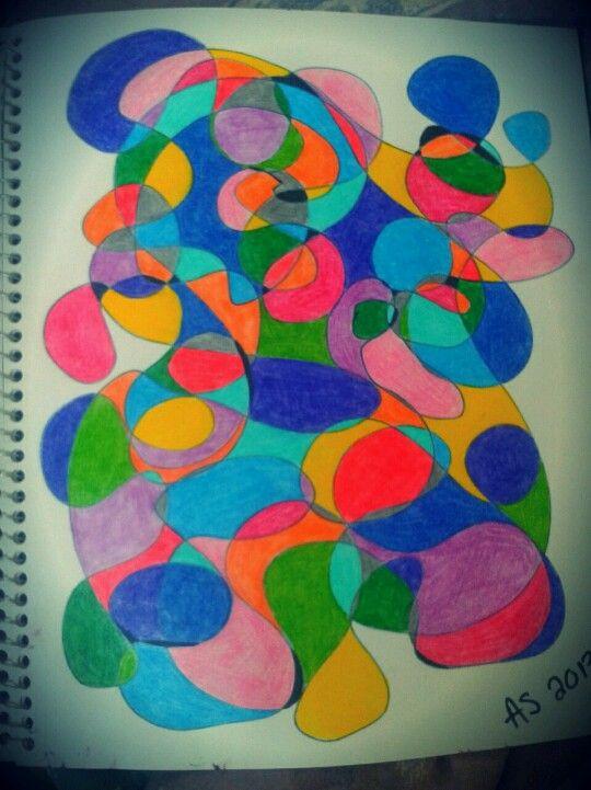 Dessin abstrait au crayon de bois