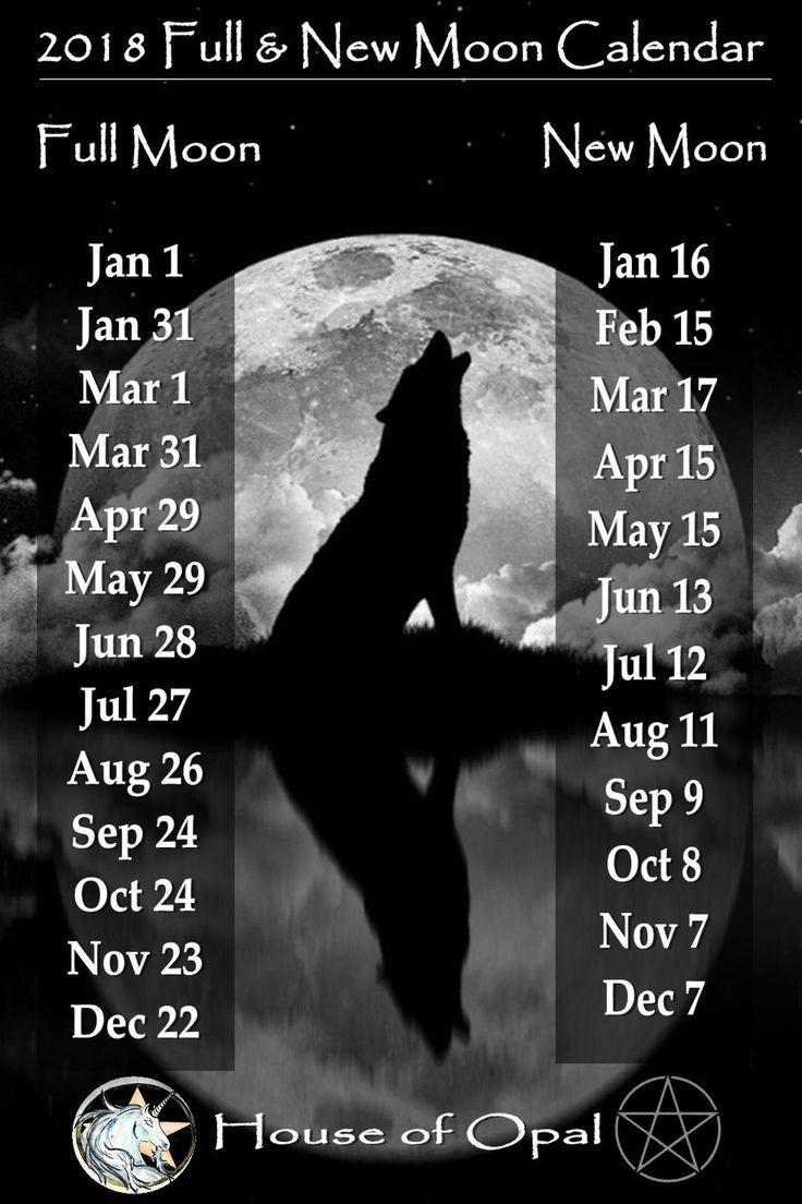 2018 Full & New Moon Calendar