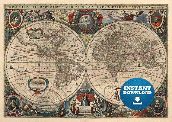 25 best digital world maps images on pinterest cards maps and digital old world map hight printable download vintage gumiabroncs Images