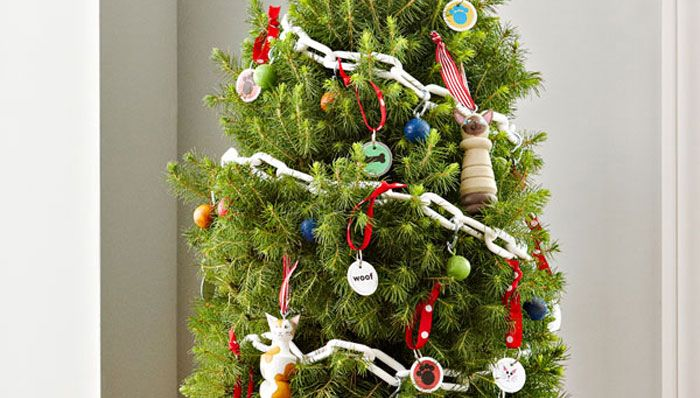 Small Christmas tree with pet ornaments