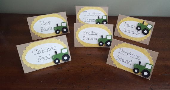 tractor party food tent cards  tractor party  by declanandsmith