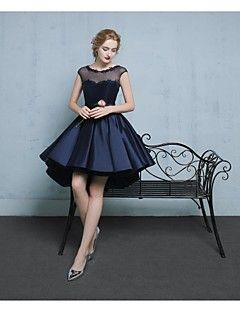 Cocktail+Party+Dress+-+Short+A-line+Scoop+Asymmetrical+Lace+Satin+Tulle+with+Appliques+Beading+–+AUD+$+364.65