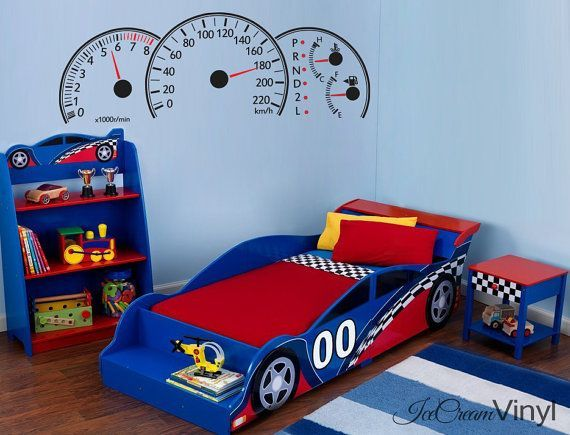 Racing Car Dashboard Wall Decal For Boys Nursery Sport Vinyl For