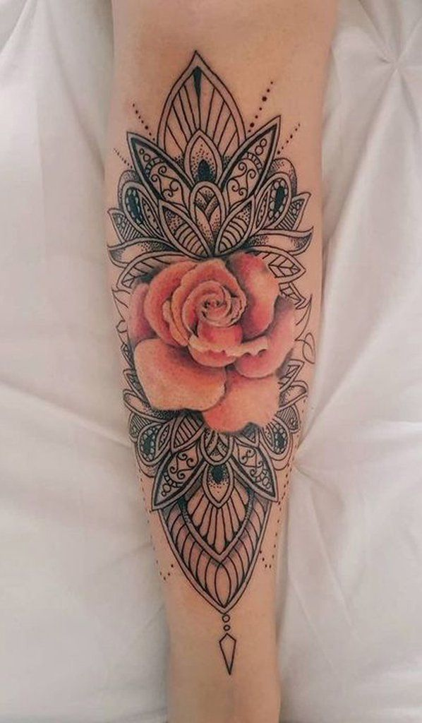 Cool Tribal Unique Mandala Watercolor Pink Rose Forearm Tattoo Ideas for Women