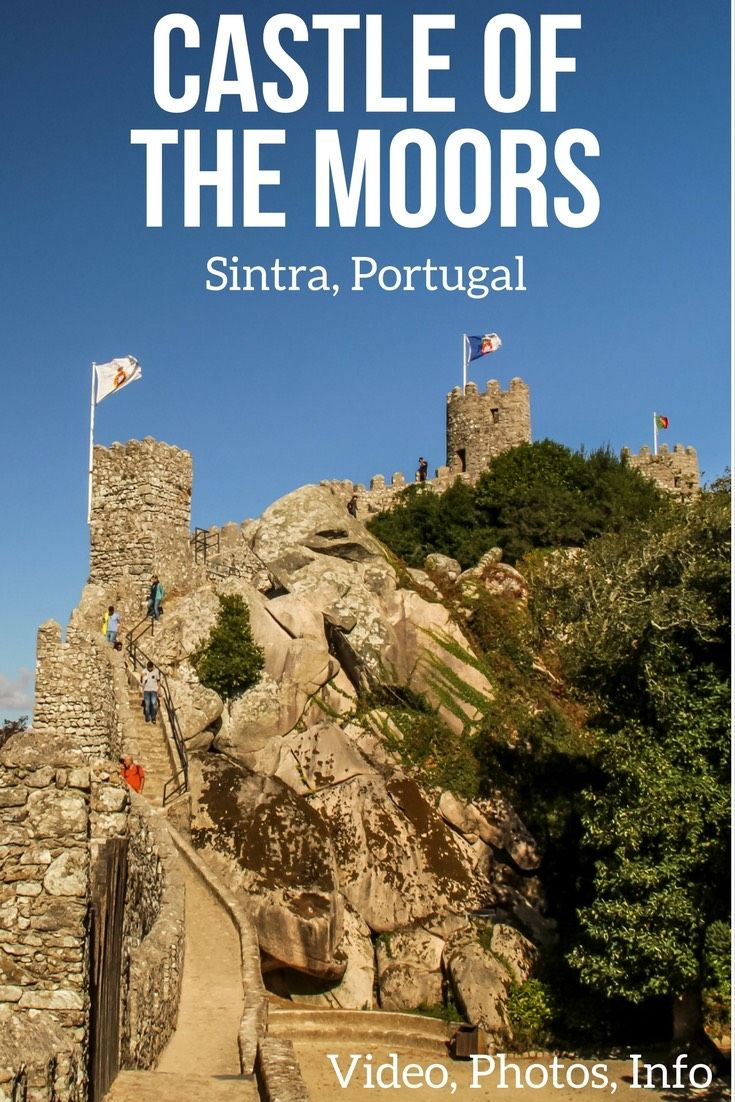One of the top things to do in Sintra Portugal is to visit the Castle of the Moors with the remaining wall and towers. It offers splendid views of the area including the Pena Palace nearby - Video, photos and info in the article | Portugal Travel Tips | Portugal Sintra | Portugal things to do