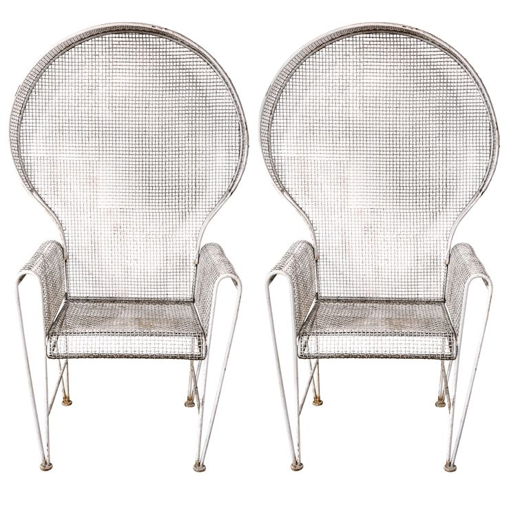 Pair Of Large Hooded Wire Outdoor Chairs