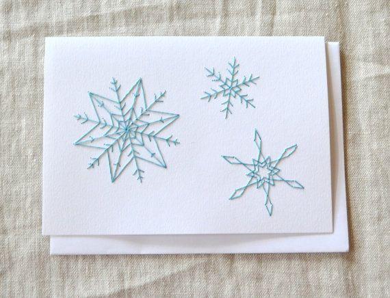 Schneeflocke-Weihnachtskarte Ferienkarte bestickt von KotoDesigns