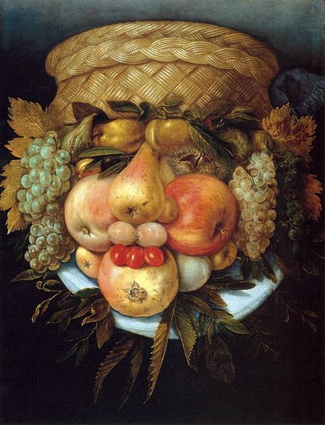 """Reversible Head with Basket of Fruit"" (c. 1590) by Giuseppe Arcimboldo"
