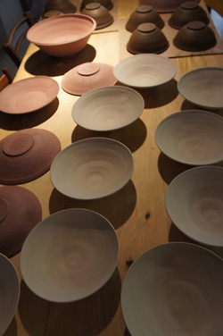 Ceramic bowls drying