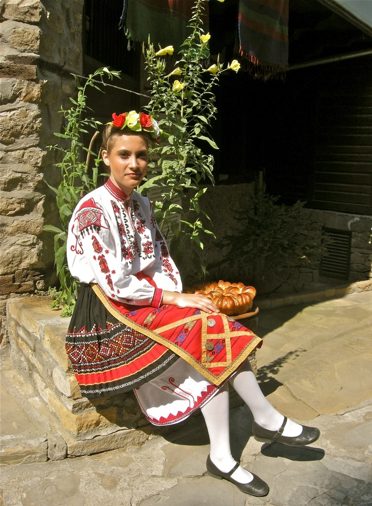Young girl in traditional national costumes in Veliko Tarnovo, Bulgaria