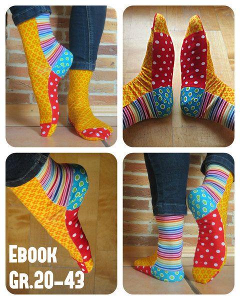 Ebook Montis bunte Socken nähen Gr. 20-45 von Villa Monti auf DaWanda.com