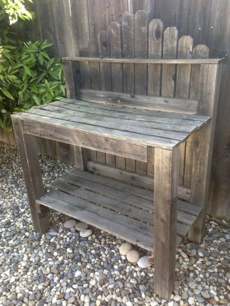 DIY potters bench made from up cycled fence slats-just beautiful.