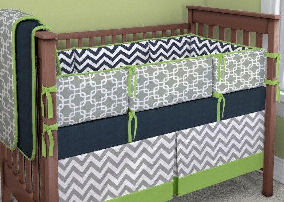 Baby Boy Crib Bedding Set Gray Green And Navy Arrows Ready To Ship
