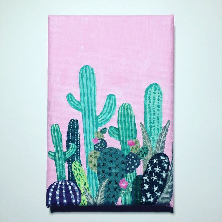 Acrylic cactus painting by Emily Willis