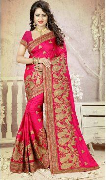 Deep Pink Color Silk Embroidery Party Saree | FH586486352 Sale up to 19% off end in 31 July Hurry Follow us @Heenastyle