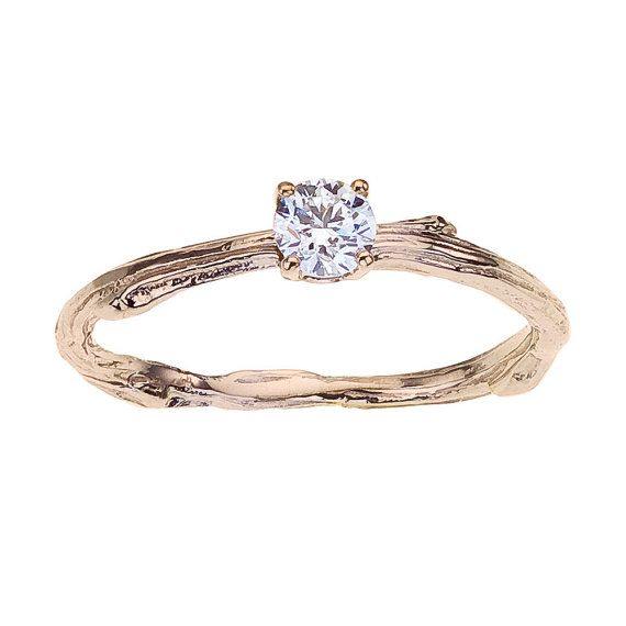 ring engagement solitaire twig narrow band