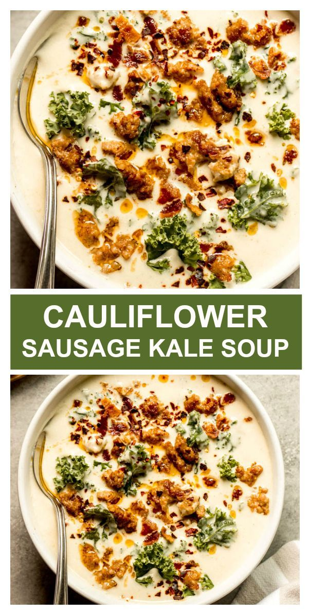 Apr 1, 2020 – Creamy cauliflower sausage kale soup. It's just like the zuppa soup but low carb and SO creamy. #zuppasoup…