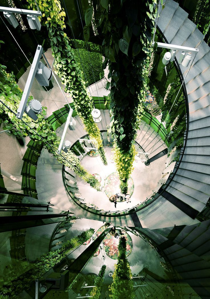 I like the perspective of this picture as well as the incorporation of greenery into the building.