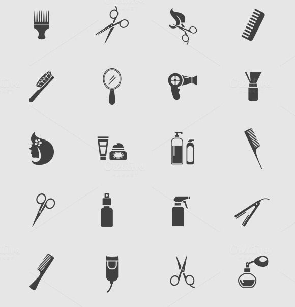 Black Barber Shop Icons by Microvector on @creativemarket