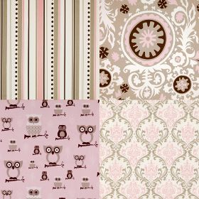 Pink and Taupe Cotton Twill fabrics