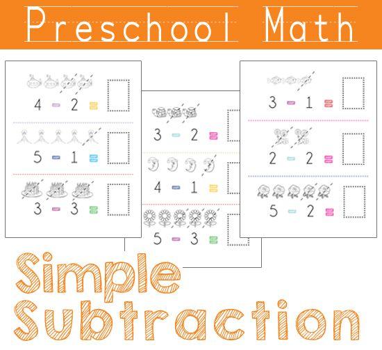Preschool Math - Simple Subtraction. FREE Printable!