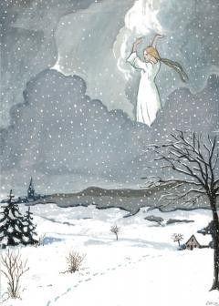 A. Cohrs, Frau Holle lässt es auf der Erde schneien. Gouache nach Otto Ubbelohde 1950