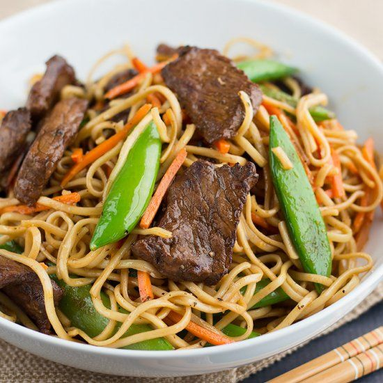Red Thai Curry Beef Noodle Stir Fry