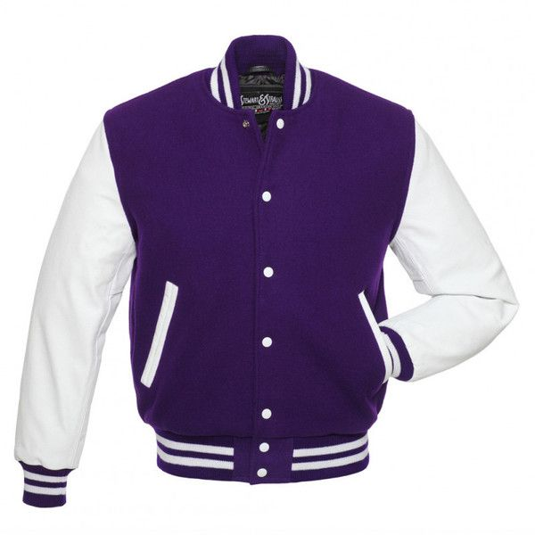 Purple Wool and White Leather Letterman Jacket - C105 US (£40) ❤ liked on Polyvore featuring outerwear, jackets, college jacket, purple varsity jacket, varsity letter jackets, leather letterman jackets and purple letterman jacket